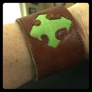 Jewelry - 😍 Brown Leather Cuff w secret zip pocket!